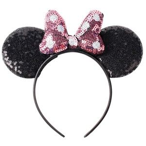 Other - Minnie Mouse Headband Pink Sequin Polka Dot Bow